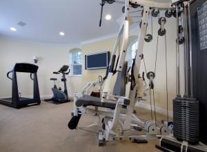 home gym on concrete floor